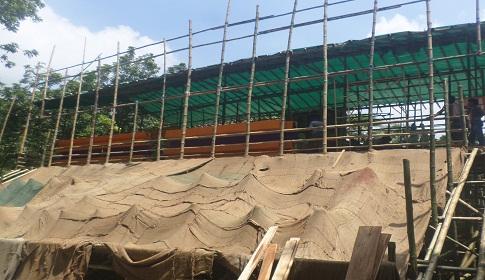 বালিয়াকান্দিতে বাঁশ দিয়ে নির্মিত দুর্গা মন্দির