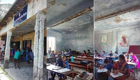প্রাথমিক বিদ্যালয়ের ঝুঁকিপূর্ণ ভবনে পাঠদান