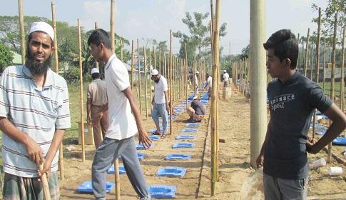 মৌলভীবাজার জেলা ইজতেমারপ্যান্ডেল তৈরির কাজ শুরু