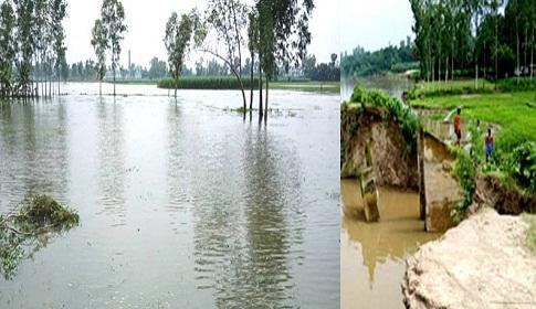 গোবিন্দগঞ্জে করতোয়া নদীর পানি বৃদ্ধি, ভাঙন শুরু