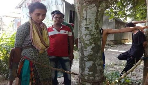 গলাকাটা সন্দেহে মানসিক ভারসাম্যহীন নারীকে গাছে বেঁধে নির্যাতন