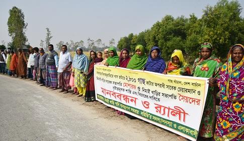 দিনাজপুরে ২৮০০ বৃক্ষ নিধনের বিরুদ্ধে মানববন্ধন