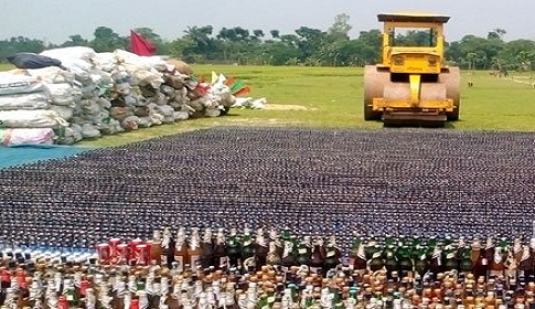 জয়পুরহাটে ৩ কোটি ৮৩ লাখ টাকার মাদক ধ্বংস