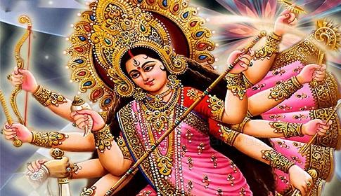 দেবী দুর্গার দশ অস্ত্রে বধ হউক করোনা মহামারী