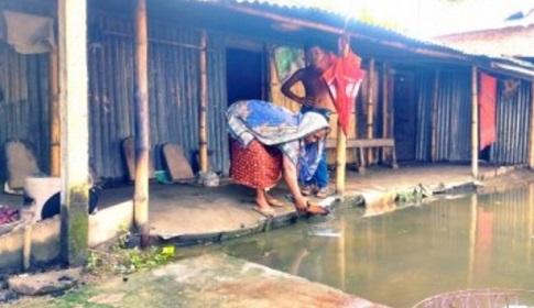 পাংশা পৌর এলাকায় জলাবদ্ধতা, স্বাস্থ্য ঝুঁকিতে শত শত পরিবার